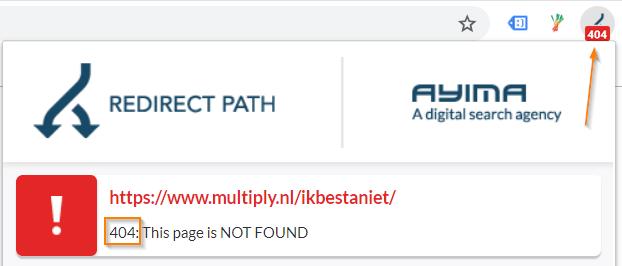 404 melding in de redirect extensie