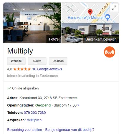 Google My Business venster